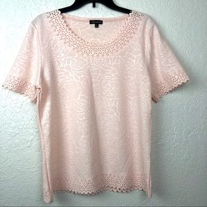 Chances R Blush Pink Top Rose Floral Scallop Large